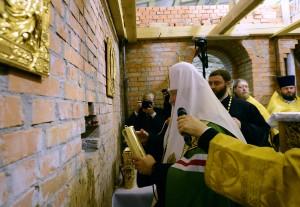 Освящение закладного камня в основание часовни свв. Петра и Февронии при Покровском монастыре г. Москвы
